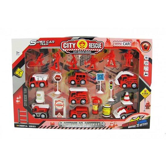 boite véhicules et accessoires de pompiers 21 pièces