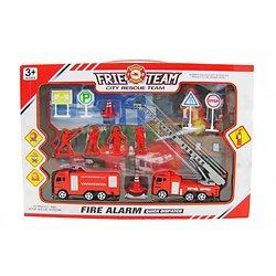 boite véhicules et accessoires de pompiers 12 pièces