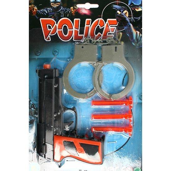 pistolet fléchettes avec menotte police sous blister