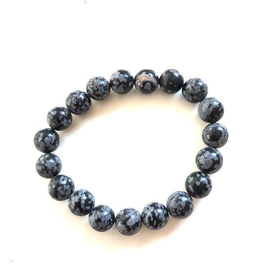 Bracelet obsidienne moucheté noire
