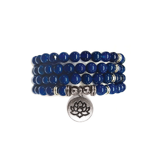 Sautoir agate bleu