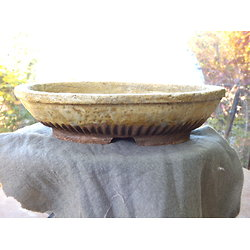 Pot ovale avec email clair rustique pour bonsaï ou composition de cactus ou plantes diverses