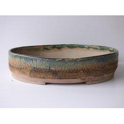 Pot ovale craquelé pour bonsaï ou plante succulente