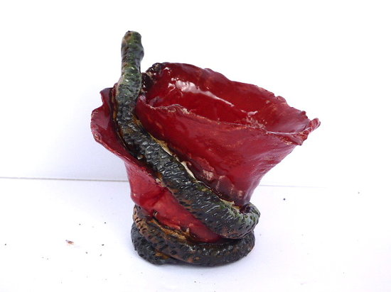 Pot pour Kusamono, cactus ou plante succulente, avec serpent enroulé