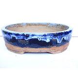 Pot ovale pour bonsai cactus succulente, émaillé