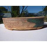 Pot ovale en grès pour bonsaï, ou composition de cactus ou de plantes succulentes