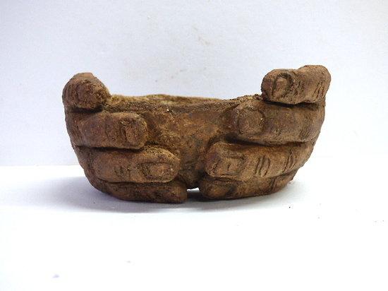 """Pot sculpture """"l'offrande"""", pour bonsaï, cactus ou plante succulente"""