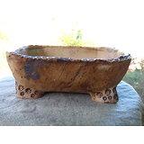 Pot rustique en terre sigilée rectangulaire  pour bonsaï, cactus ou plante succulente