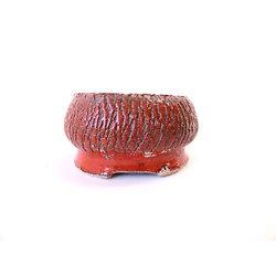 Pot craquelé rouge pour cactus, plante succulente ou bonsaï