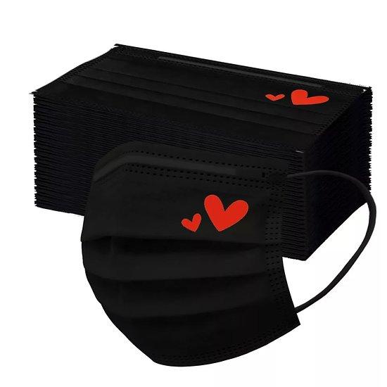 Lot de 10 masques adulte Noir/ coeur rouge ( Arrivage fin Septembre)