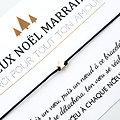 Carte de Noël Maman Mamie Marraine + Bracelet porte bonheur Etoile dorée