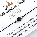 Joyeux Noël Maîtresse Nounou Maître - Carte + Bracelet porte bonheur