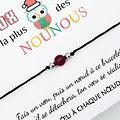 Carte de Noël Chouette Nounou + Bracelet porte bonheur Agate