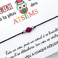 Carte de Noël Chouette Atsem + Bracelet porte bonheur Agate