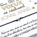 Carte Bonne Année Que tous tes vœux se réalisent et Bracelet au choix