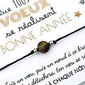 6 Cartes Bonne Année Que tous tes vœux se réalisent et Bracelet au choix