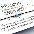 Petit cadeau plein d'amour pour Noël - Carte + Bracelet Aigue marine