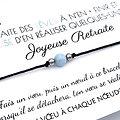 Carte de vœux Joyeuse Retraite + Bracelet porte-bonheur Aigue marine