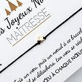 Duo de Cartes Très Joyeux Noël Nounou et Maîtresse + Bracelets porte-bonheur