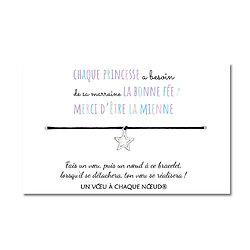Carte Ma Marraine la bonne fée + Bracelet porte bonheur Grande étoile