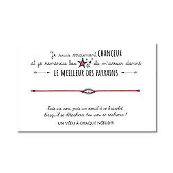 Carte Pour le meilleur Parrain + Bracelet porte bonheur Cylindre INOX