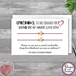 Carte Merci de m'aimer + Duo ou trio de Bracelets porte bonheur étoile Or 14k