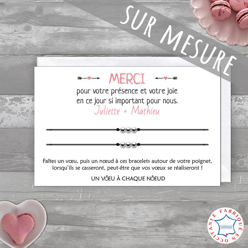 Carte Mariage SUR MESURE + Duo de Bracelets 3 billes INOX