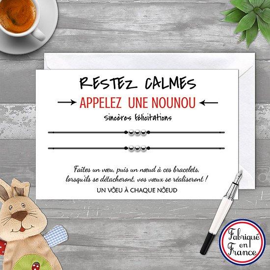 Carte de voeux Sincères Félicitations + Duo de Bracelets 3 billes INOX