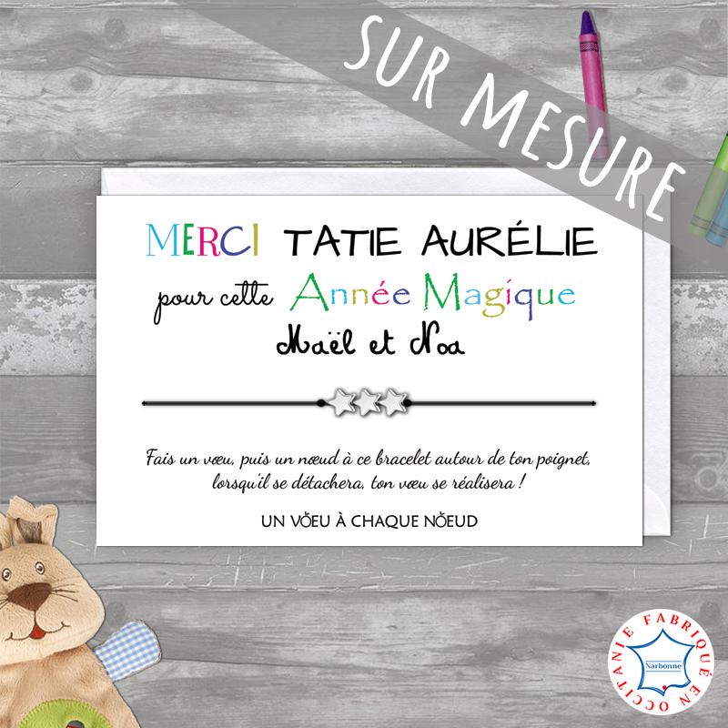 Carte Merci Tatie (SUR MESURE) + Bracelet à voeux 3 étoiles