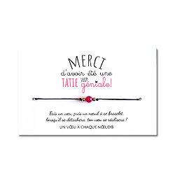 Carte de voeux Tatie trop géniale + Bracelet porte bonheur Agate