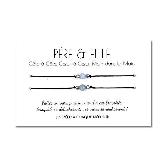 Carte de vœux Père et Fille + Duo de Bracelets porte bonheur