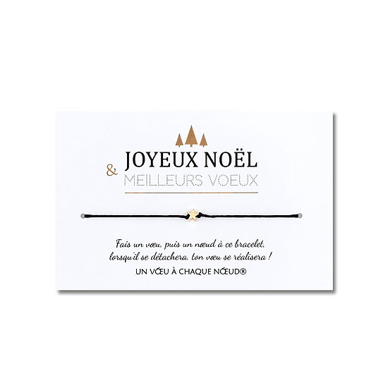 Carte Joyeux Noël et Meilleurs Vœux + Bracelet porte-bonheur au choix