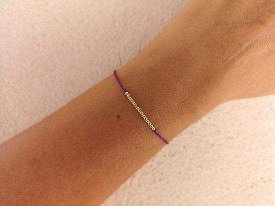 Cordon de soie violet + 15 billes plaqué or