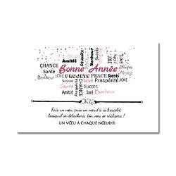 Carte de voeux Bonne Année + Bracelet porte bonheur 3 étoiles