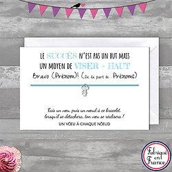 Carte de voeux Bravo personnalisé + Bracelet porte bonheur Clef INOX