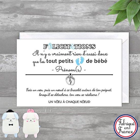 Carte personnalisée Félicitations Jeune Maman + Bracelet porte bonheur Petits Pieds