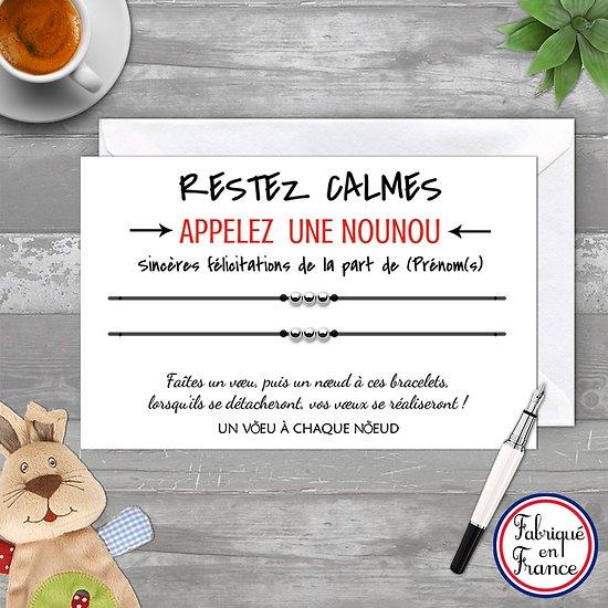 Carte Sincères Félicitations personnalisé + Duo de Bracelets 3 billes INOX