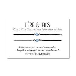 Carte de voeux Père et Fils + Duo de Bracelets porte bonheur
