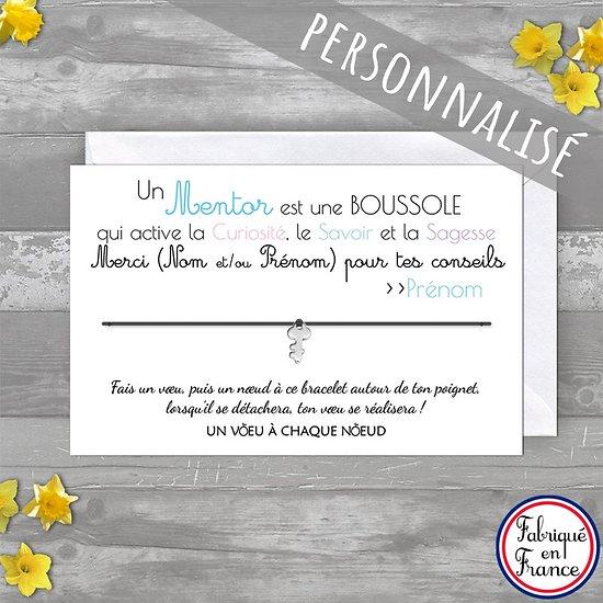 Carte personnalisée Merci Super Professeur + Bracelet porte bonheur Clé INOX