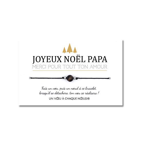 Carte de Noël Papa Papy Parrain + Bracelet porte bonheur Œil de tigre