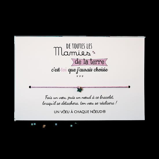 Carte Papy ou Mamie - On choisit pas sa famille + Bracelet porte-bonheur