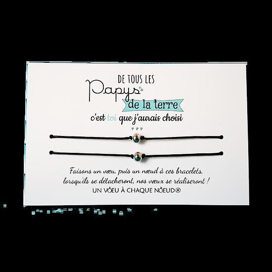 Carte Papy ou Mamie - On choisit pas sa famille + Duo de Bracelets