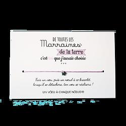 Carte Parrain ou Marraine - On choisit pas sa famille + Bracelet porte-bonheur