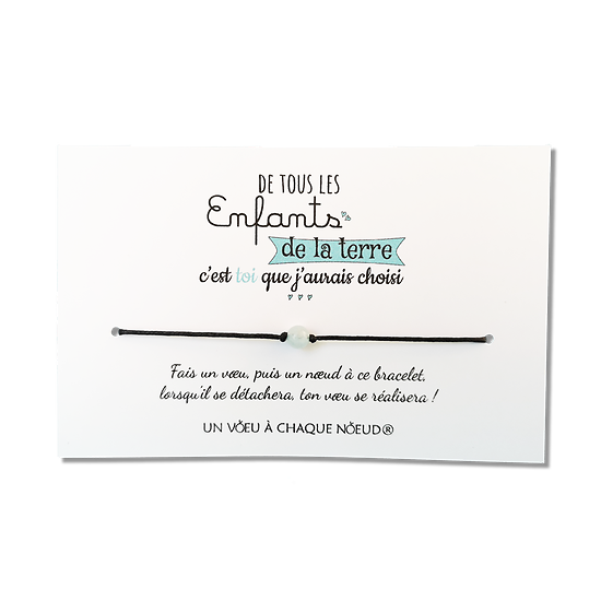 Carte Fille ou Fils - On choisit pas sa famille + Bracelet porte-bonheur