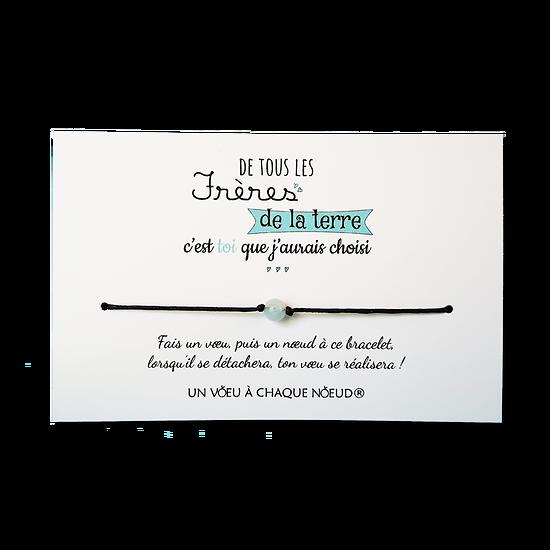 Carte Frère ou Soeur - On choisit pas sa famille + Bracelet porte-bonheur