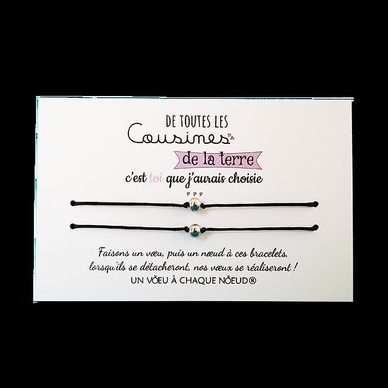 Carte Cousin ou Cousine - On choisit pas sa famille + Duo de Bracelets