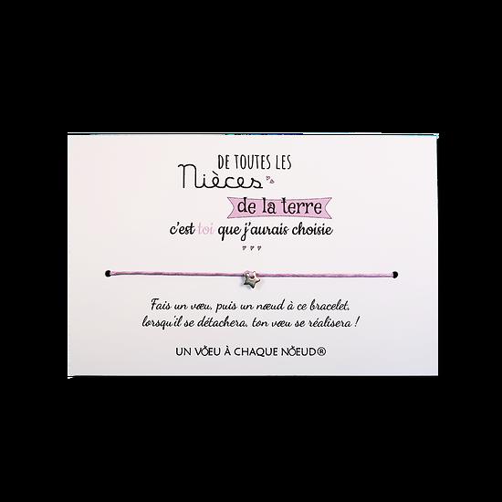 Carte Neveu ou Nièce - On choisit pas sa famille + Bracelet porte-bonheur