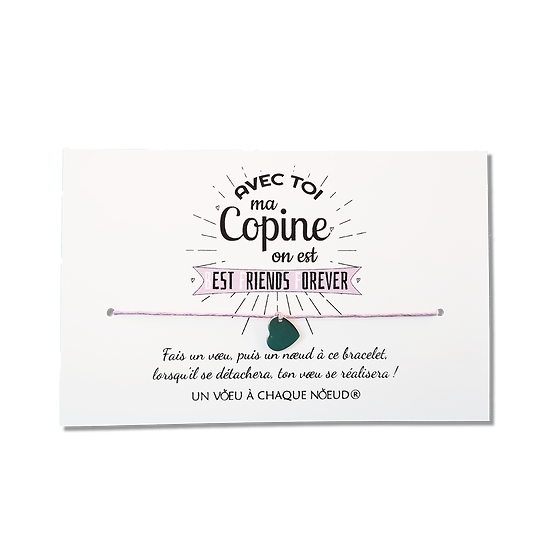 Carte de voeux pour les copines - BFF + Bracelet Coeur Inox