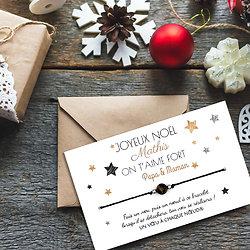 Carte de Noël à personnaliser + Bracelet porte-bonheur Œil de tigre