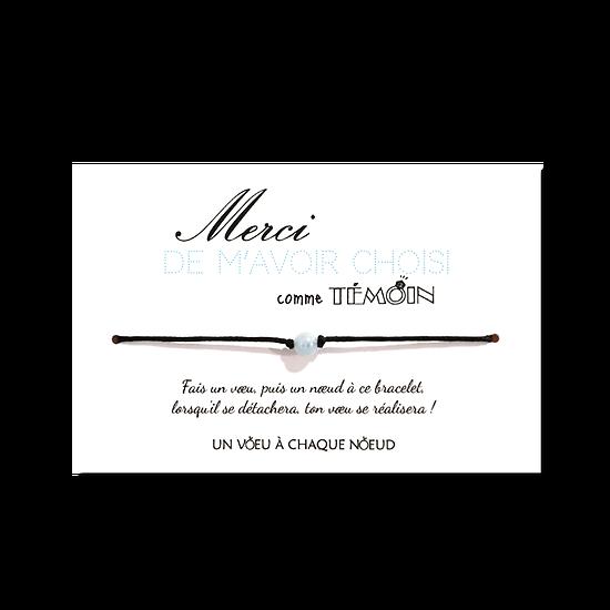 Carte Merci de m'avoir choisi comme témoin + Bracelet porte-bonheur Aigue-marine